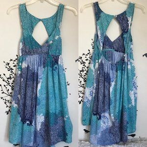 ROXY abstract print open back hi low dress